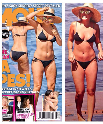 Cellu-lies? Famous magazine's pic on the left shows cellulite. Who magazine's cellulite-free thighs on the right. Who's been photoshopping?