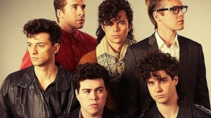 The cast of INXS: Never Tear Us Apart recreate  the cover of The Swing album cover from 1984