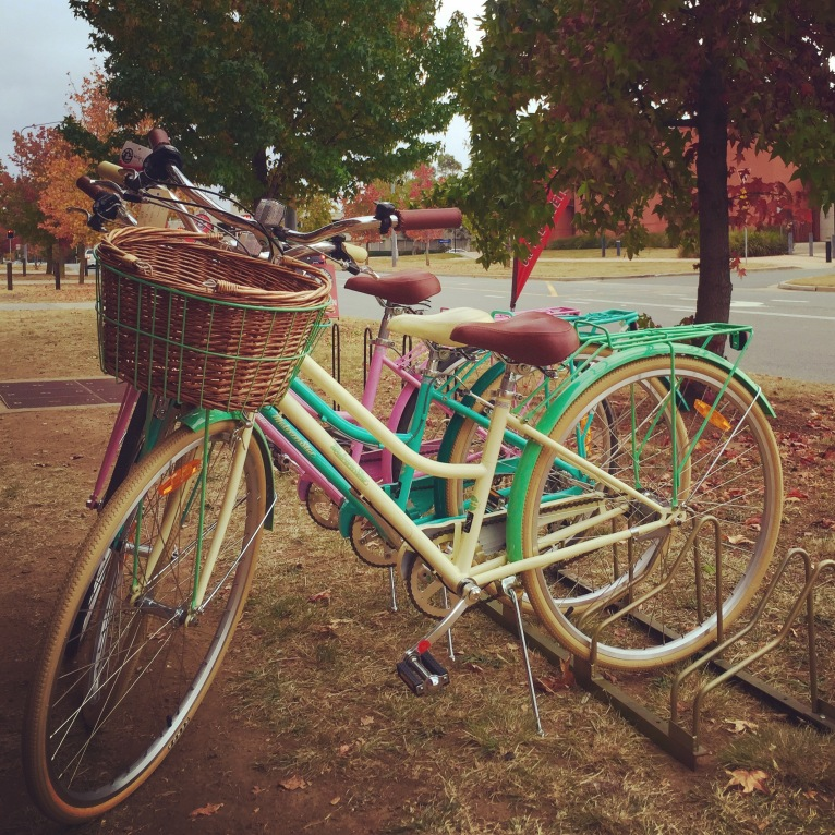 vintage-look bicycles outside 'On the Rivet' bicycle shop in downtown Tuggeranong.