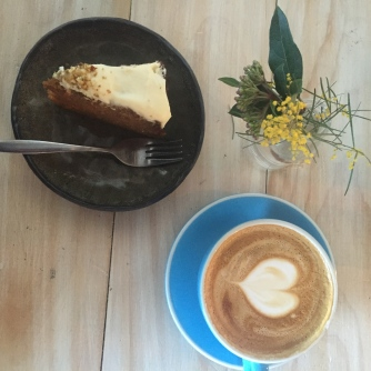 Delicious carrot cake and coffee at the rustic Local Press Cafe