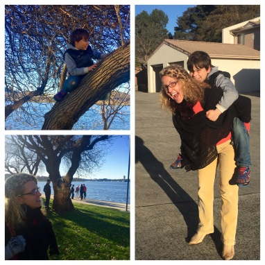 Frolicking with Spider Boy and Señorita Margarita at Kingston Foreshore, and our driveway
