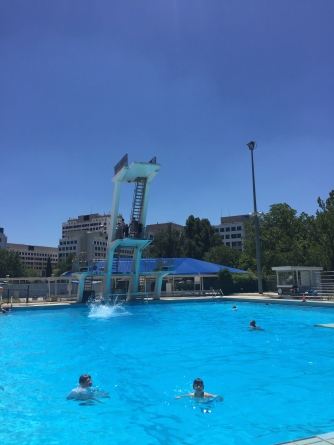Back in Canberra, we dealt with the heat at Civic pool