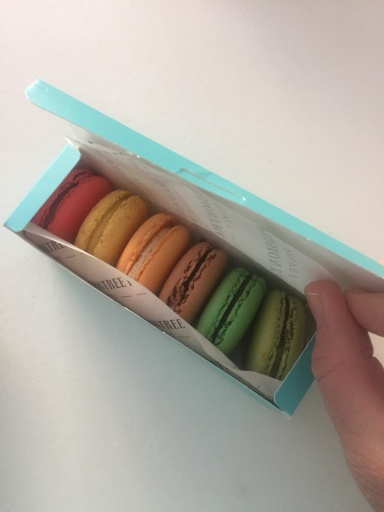 This beautiful box of macarons from the new Passiontree Velvet store in Canberra was a lovely surprise the day before from my friend Karen