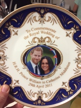 We had to DIY our Harry and Meghan plates by blue-tacking them to this Kate and William plate.